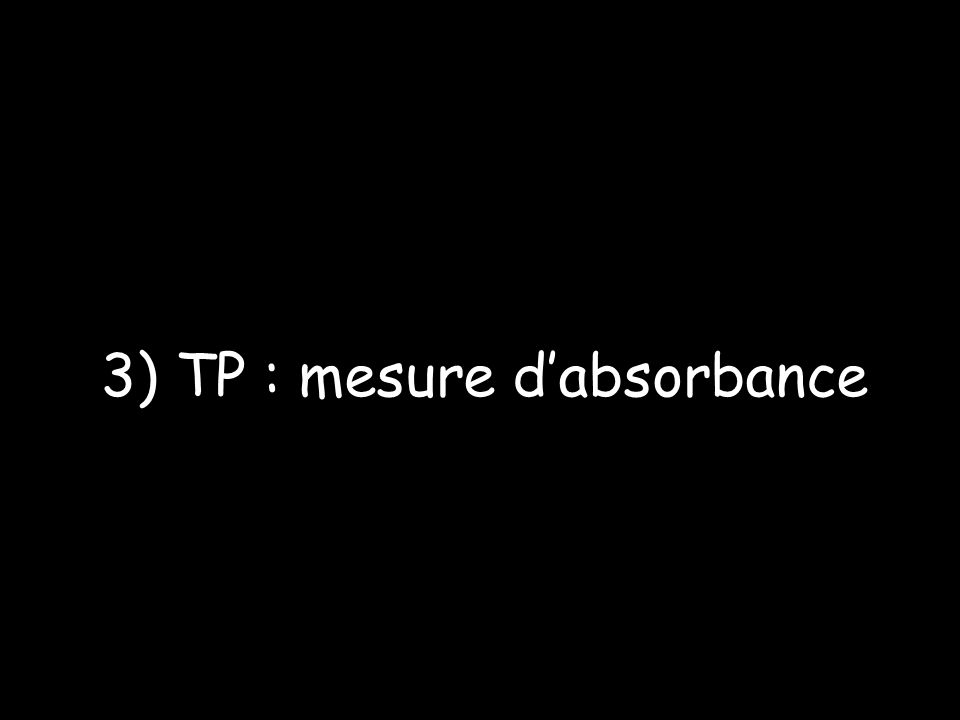 3) TP : mesure d'absorbance