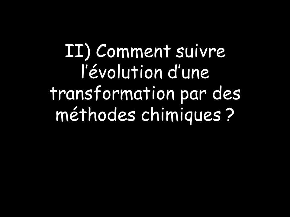 II) Comment suivre l'évolution d'une transformation par des méthodes chimiques