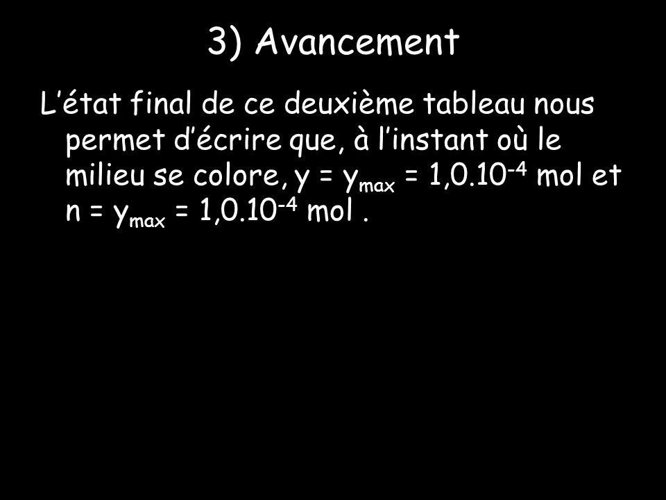 3) Avancement