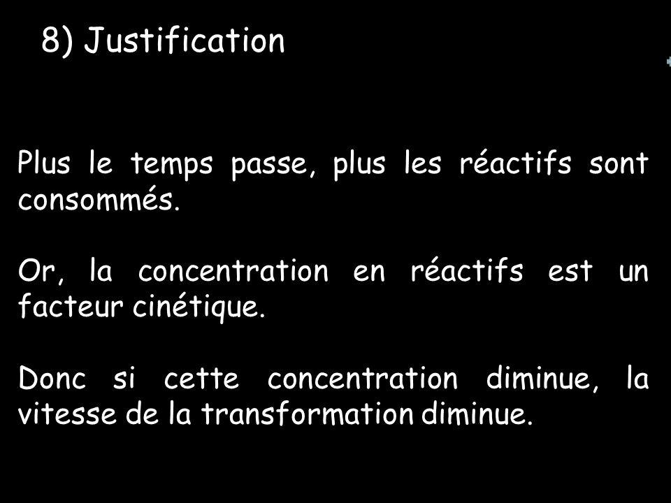 8) Justification Plus le temps passe, plus les réactifs sont consommés. Or, la concentration en réactifs est un facteur cinétique.