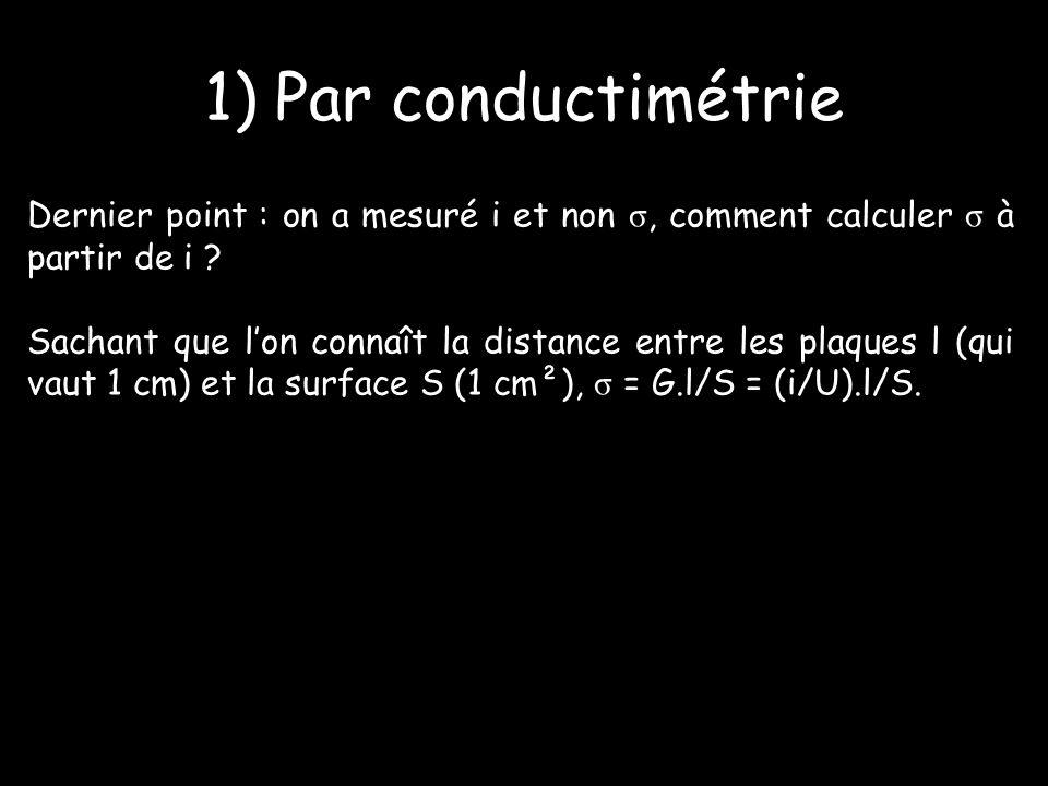 1) Par conductimétrie Dernier point : on a mesuré i et non σ, comment calculer σ à partir de i