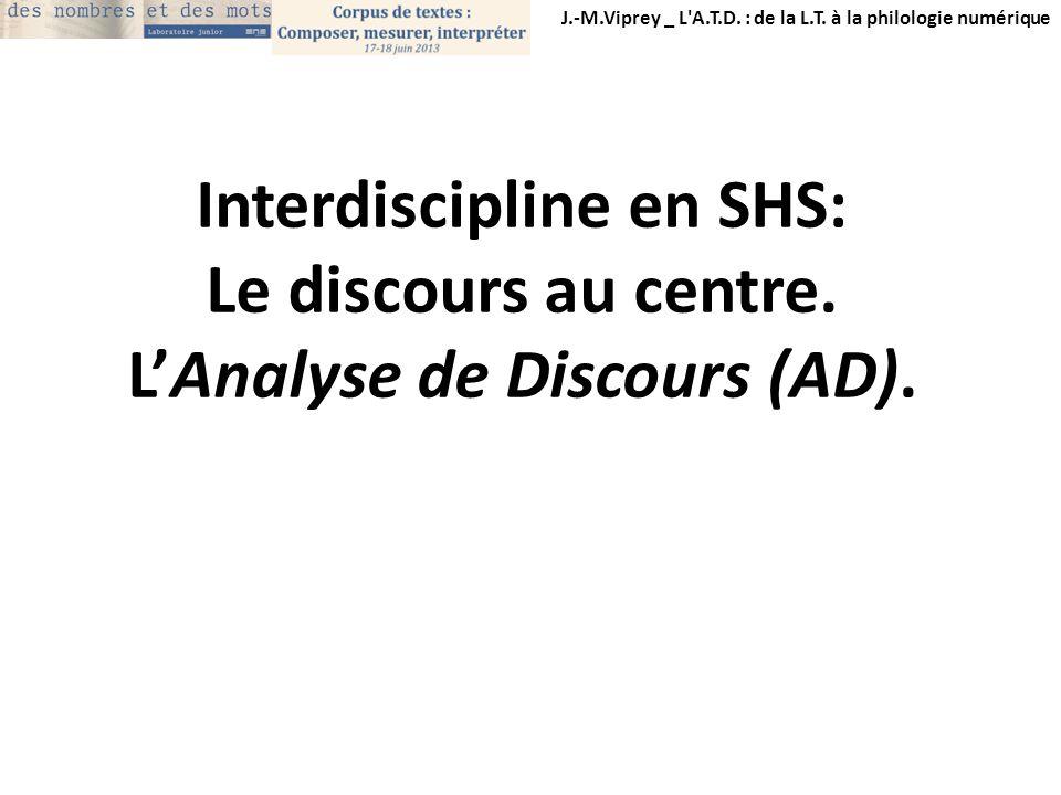 Interdiscipline en SHS: L'Analyse de Discours (AD).