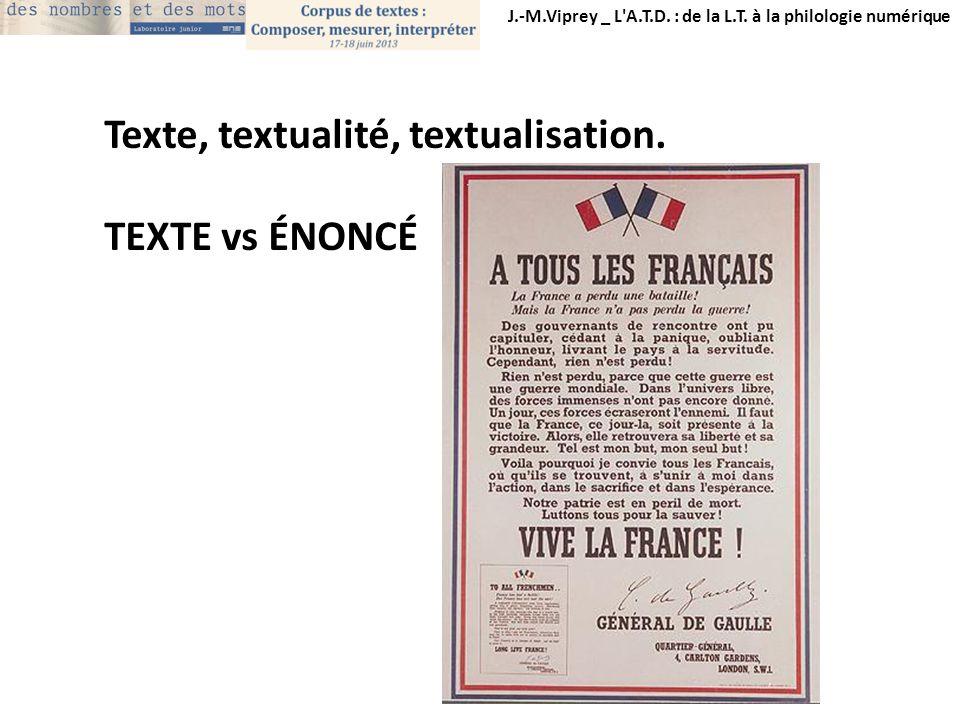 Texte, textualité, textualisation. TEXTE vs ÉNONCÉ