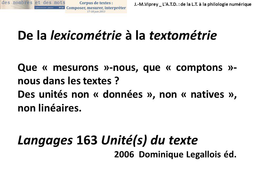 De la lexicométrie à la textométrie