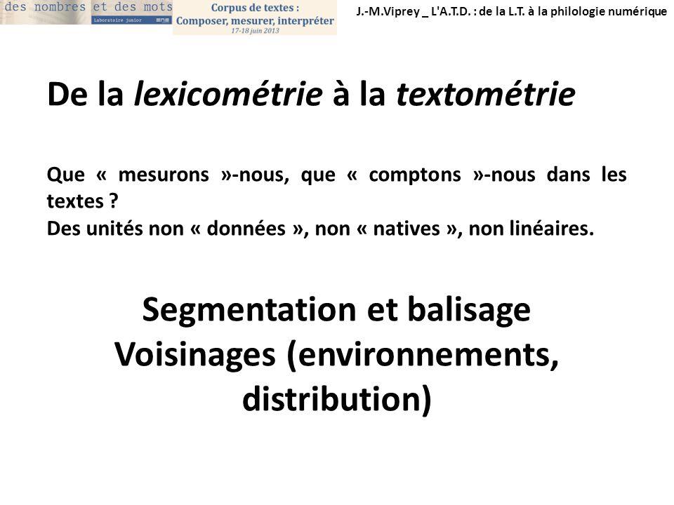 Segmentation et balisage Voisinages (environnements, distribution)