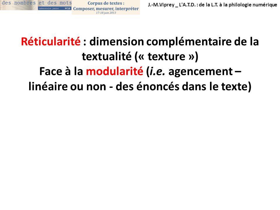 Réticularité : dimension complémentaire de la textualité (« texture »)