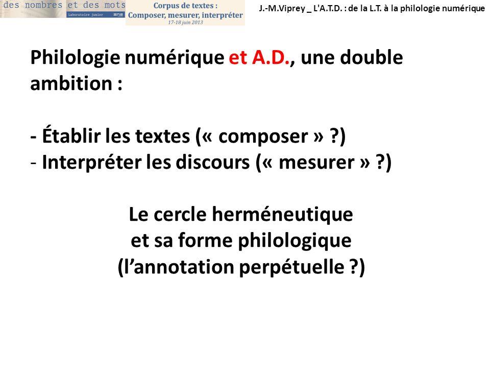 Philologie numérique et A.D., une double ambition :