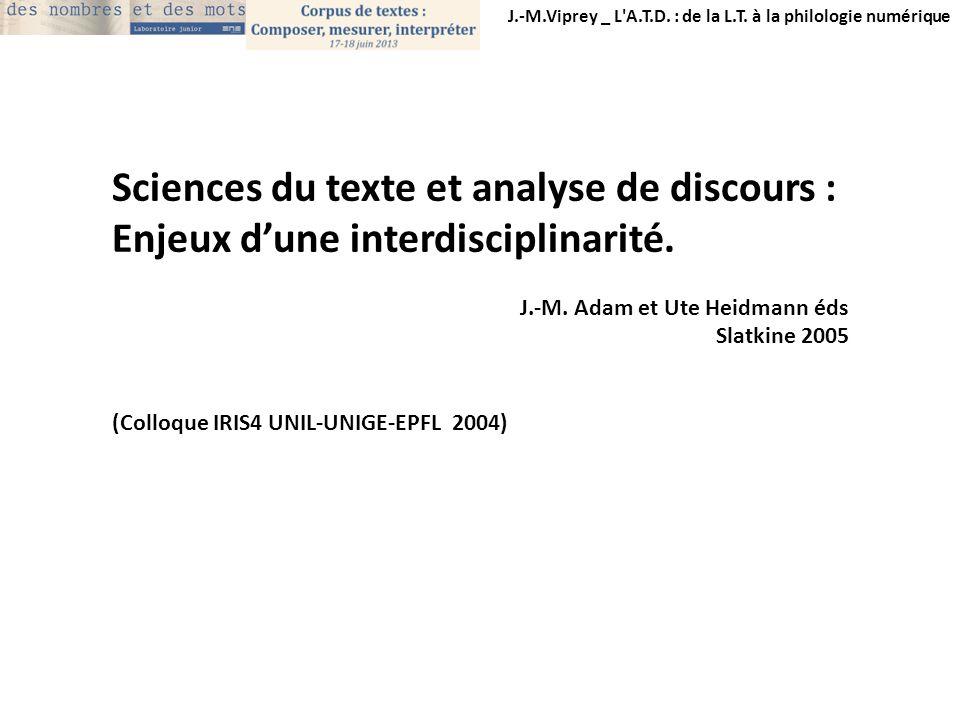 Sciences du texte et analyse de discours :