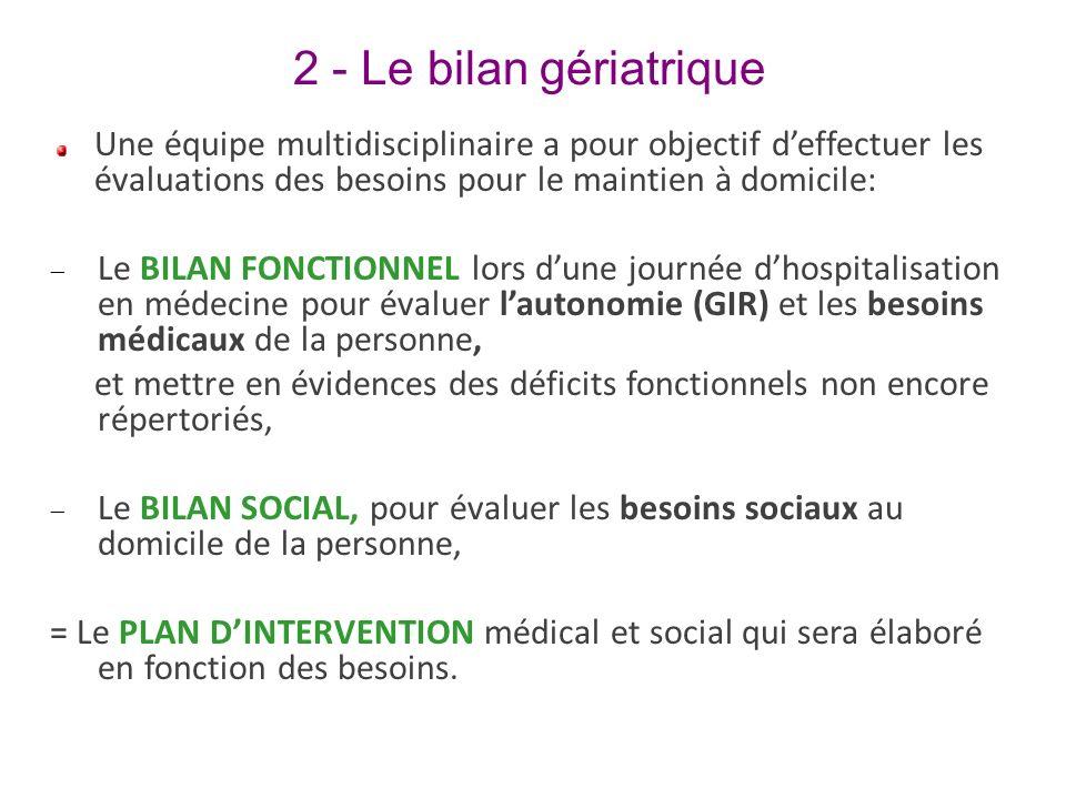 2 - Le bilan gériatrique Une équipe multidisciplinaire a pour objectif d'effectuer les évaluations des besoins pour le maintien à domicile: