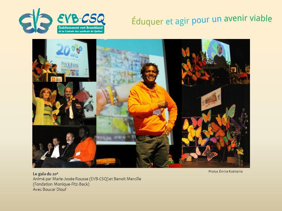 Le gala du 20e Animé par Marie-Josée Rousse (EVB-CSQ) et Benoit Mercille (Fondation Monique-Fitz-Back)