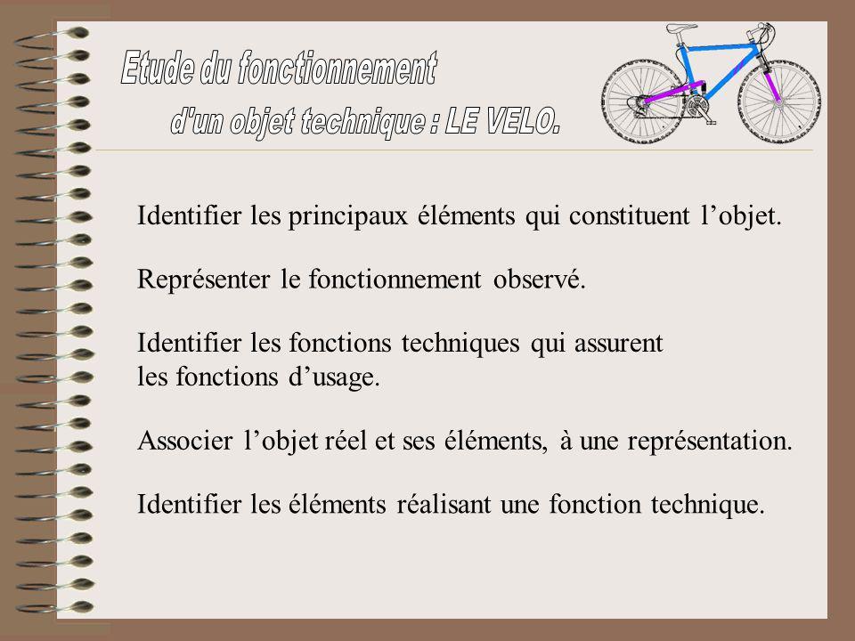 Etude du fonctionnement d un objet technique : LE VELO.