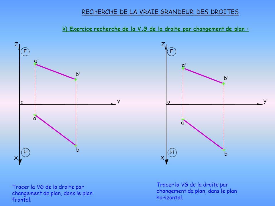 k) Exercice recherche de la V.G de la droite par changement de plan :