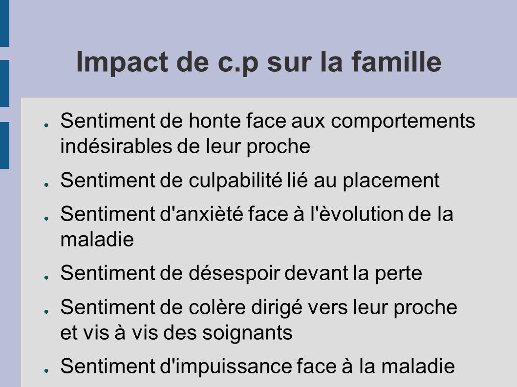 Impact de c.p sur la famille