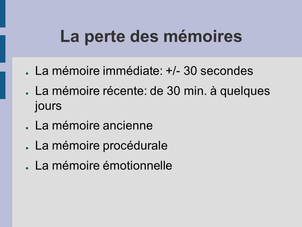 La perte des mémoires La mémoire immédiate: +/- 30 secondes