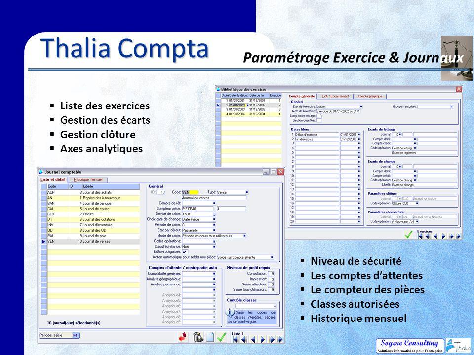 Thalia Compta Paramétrage Exercice & Journaux Liste des exercices