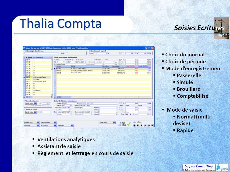Thalia Compta Saisies Ecritures Choix du journal Choix de période