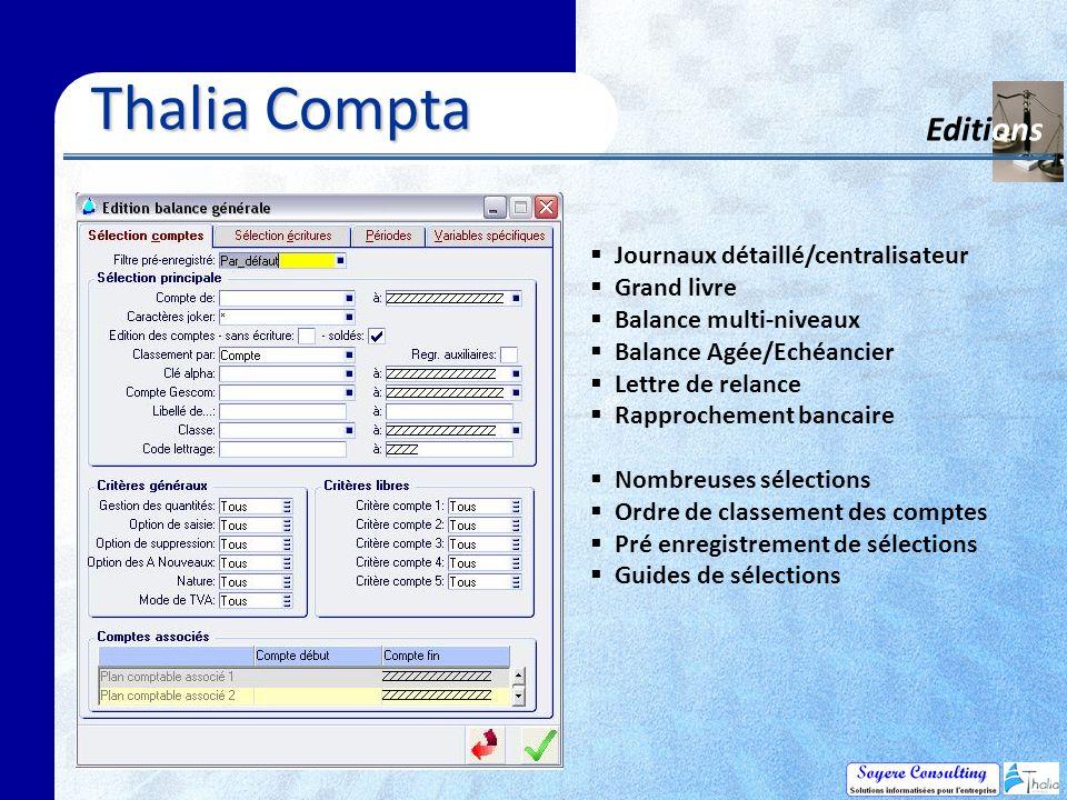 Thalia Compta Editions Journaux détaillé/centralisateur Grand livre