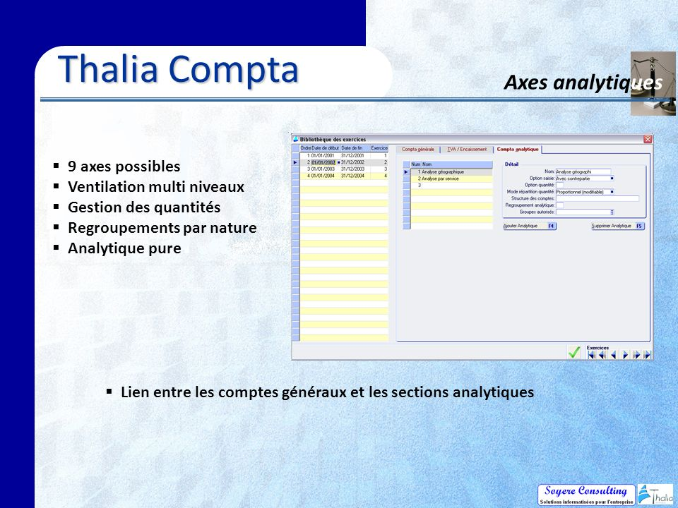 Thalia Compta Axes analytiques 9 axes possibles