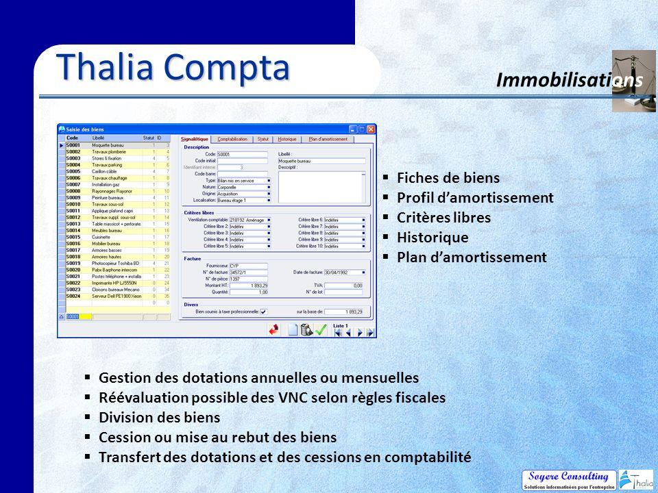 Thalia Compta Immobilisations Fiches de biens Profil d'amortissement