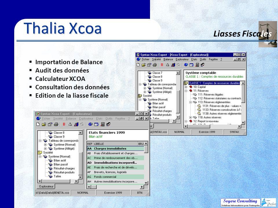 Thalia Xcoa Liasses Fiscales Importation de Balance Audit des données