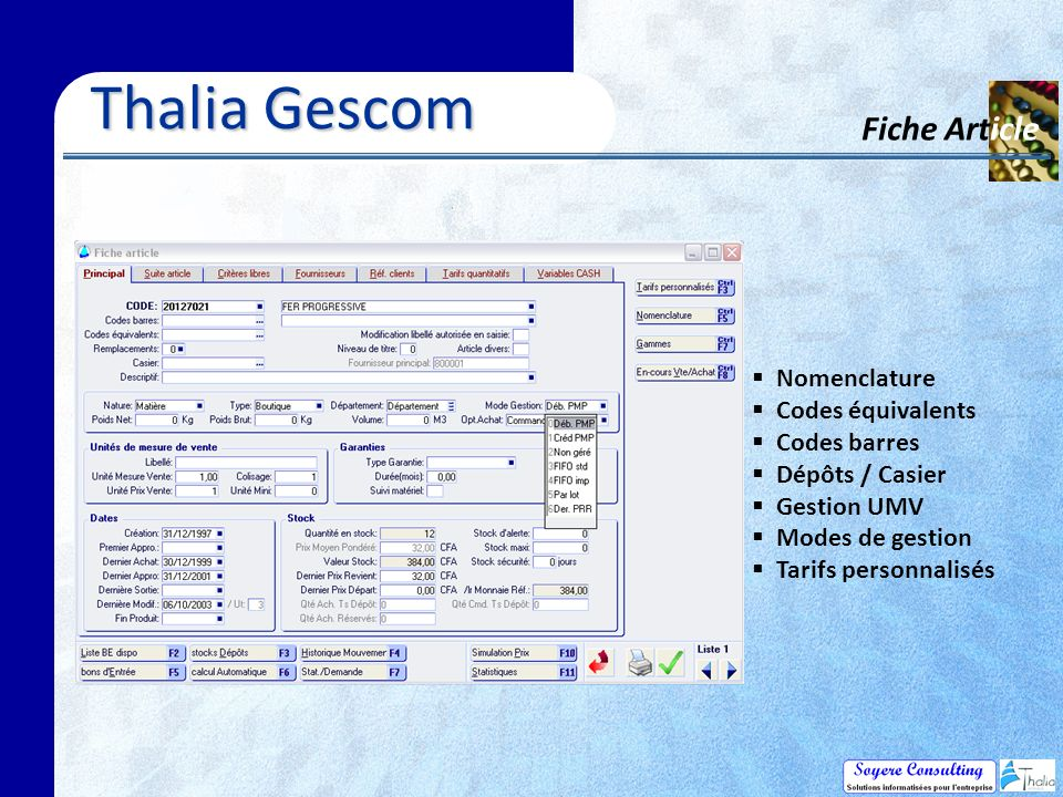 Thalia Gescom Fiche Article Nomenclature Codes équivalents