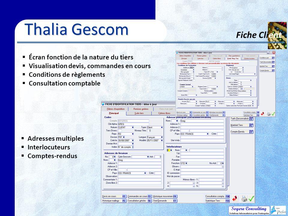 Thalia Gescom Fiche Client Écran fonction de la nature du tiers