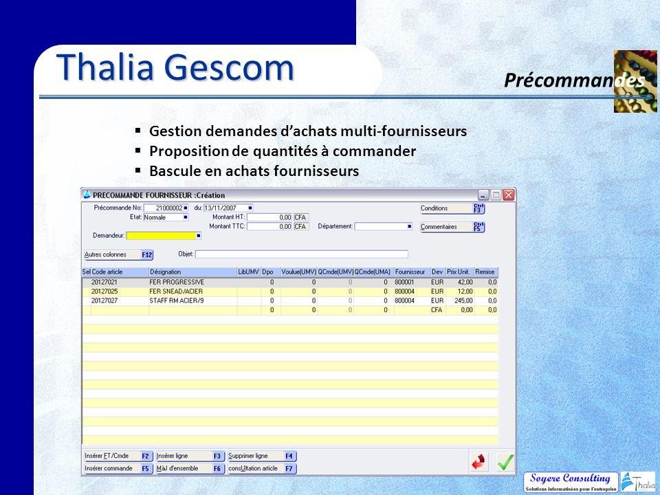 Thalia Gescom Précommandes
