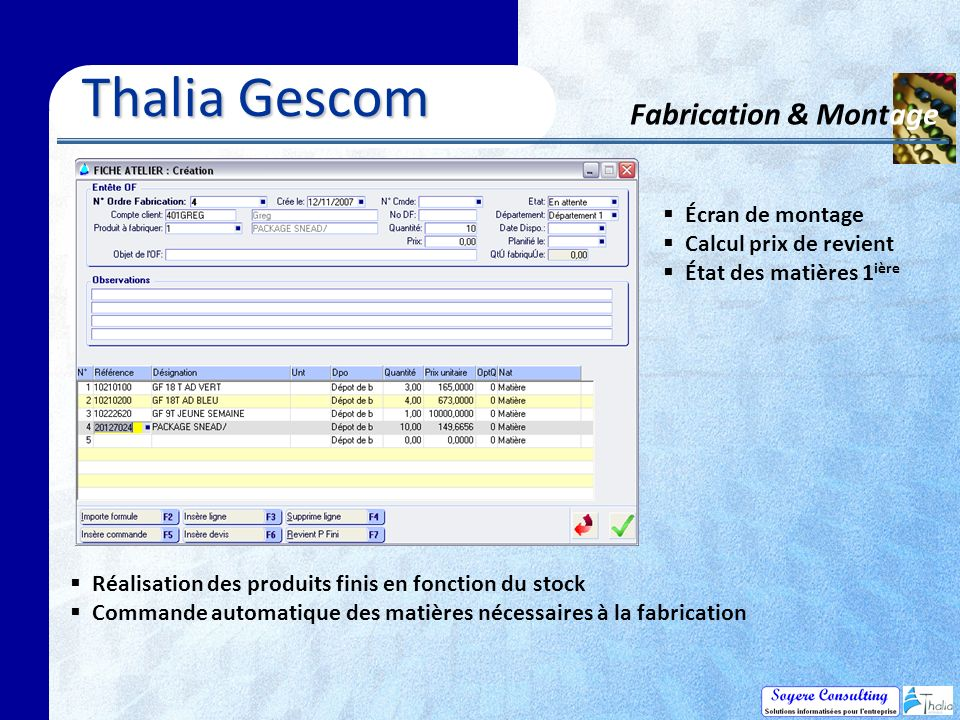 Thalia Gescom Fabrication & Montage Écran de montage