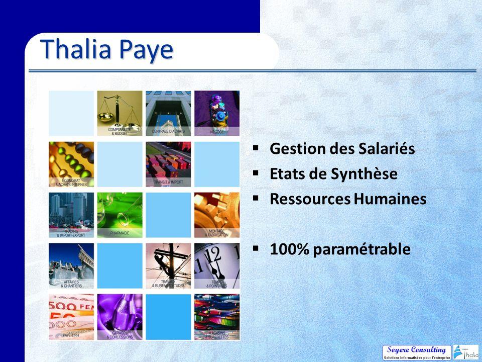 Thalia Paye Gestion des Salariés Etats de Synthèse Ressources Humaines