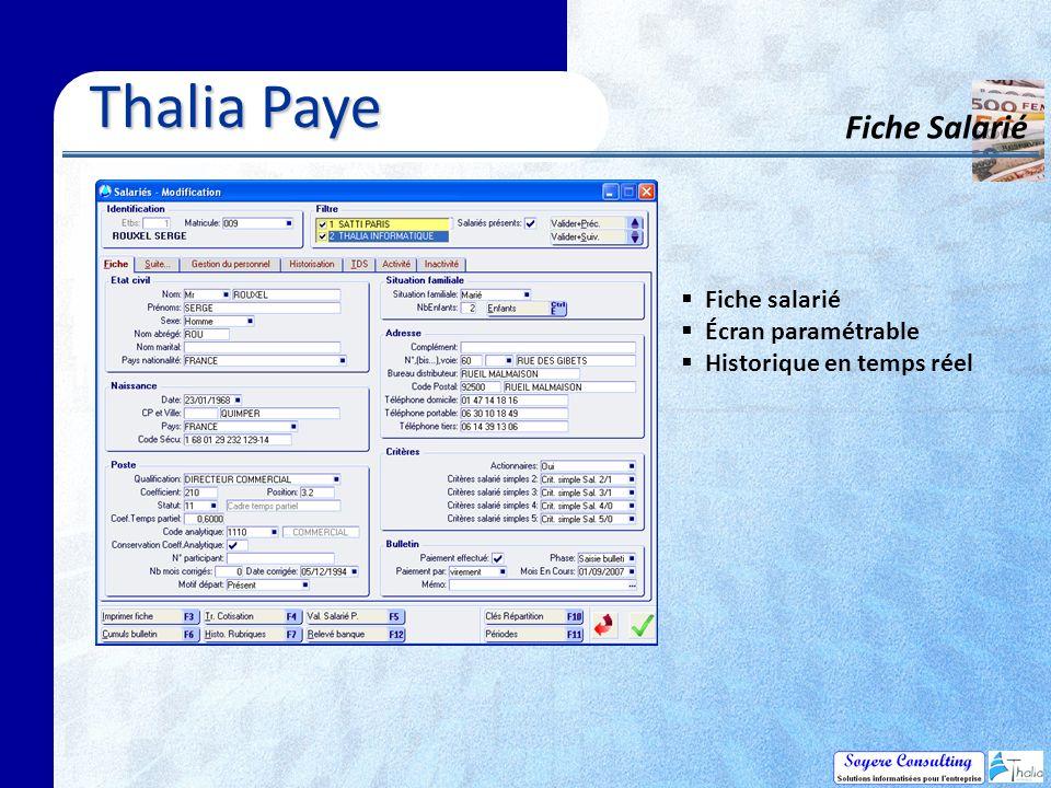 Thalia Paye Fiche Salarié Fiche salarié Écran paramétrable