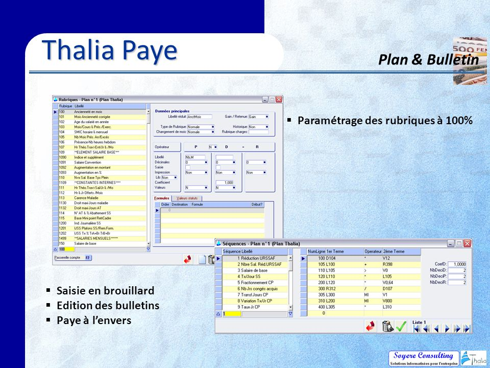 Thalia Paye Plan & Bulletin Paramétrage des rubriques à 100%