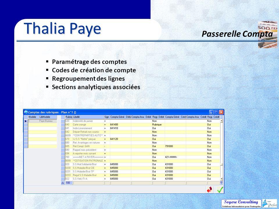 Thalia Paye Passerelle Compta Paramétrage des comptes