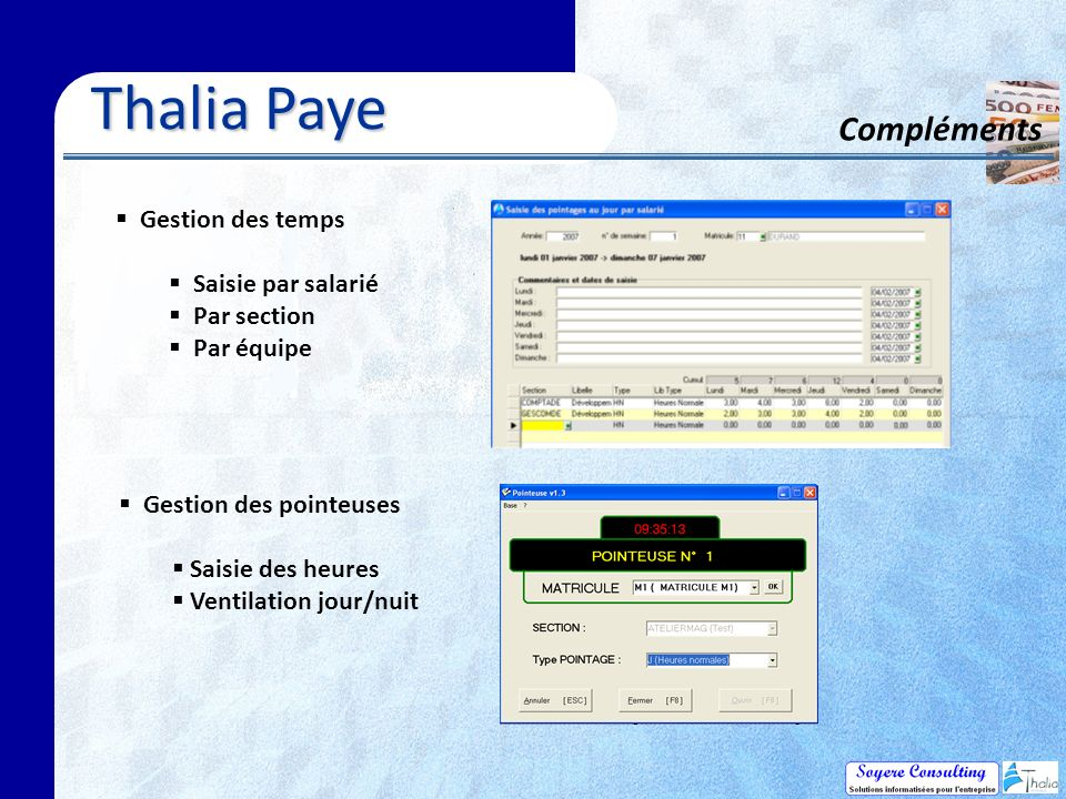 Thalia Paye Compléments Gestion des temps Saisie par salarié
