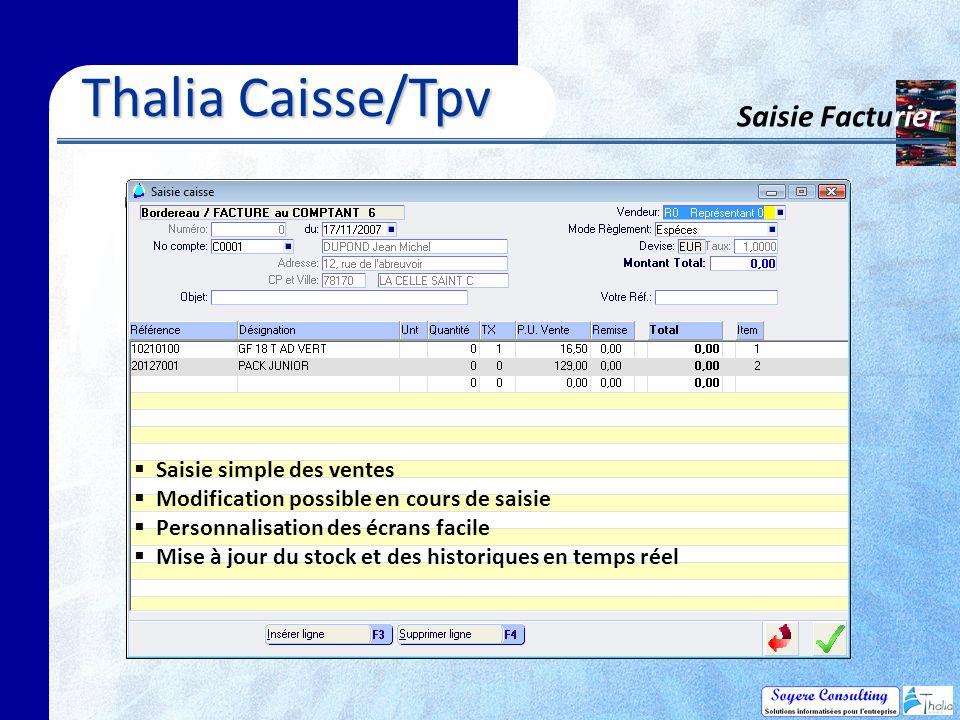 Thalia Caisse/Tpv Saisie Facturier Saisie simple des ventes