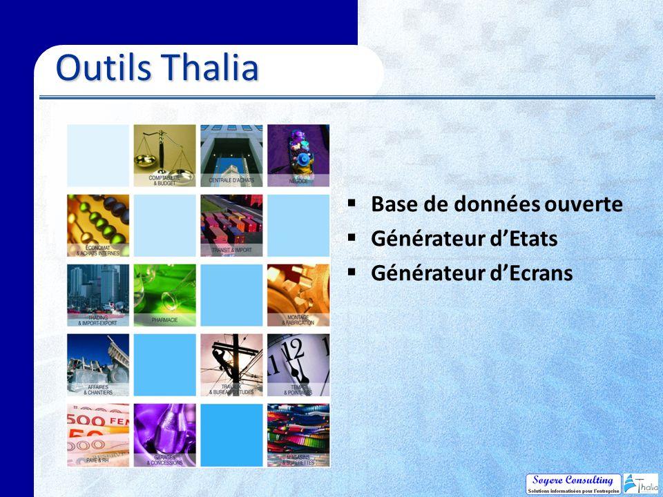 Outils Thalia Base de données ouverte Générateur d'Etats
