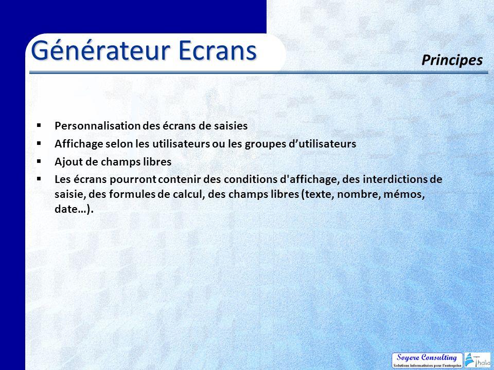 Générateur Ecrans Principes Personnalisation des écrans de saisies