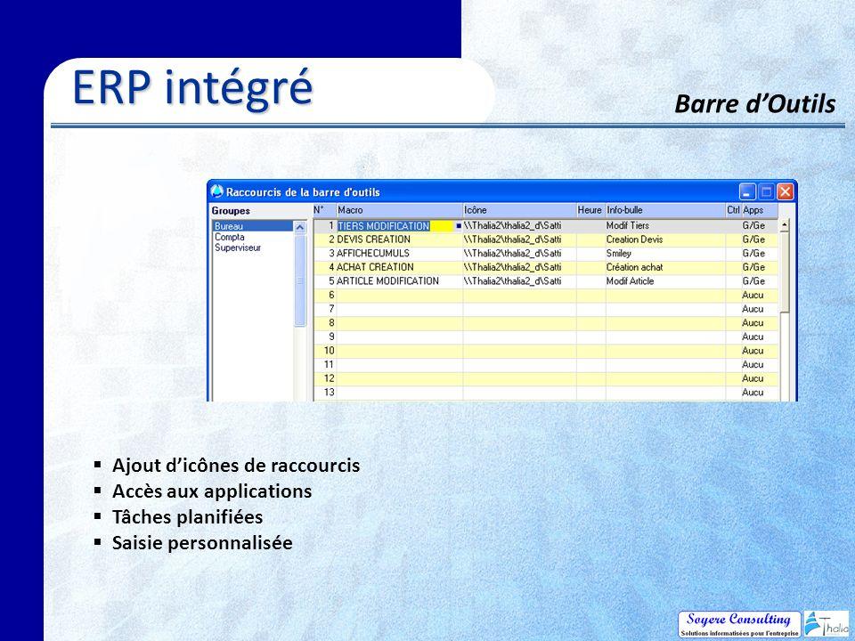 ERP intégré Barre d'Outils Ajout d'icônes de raccourcis