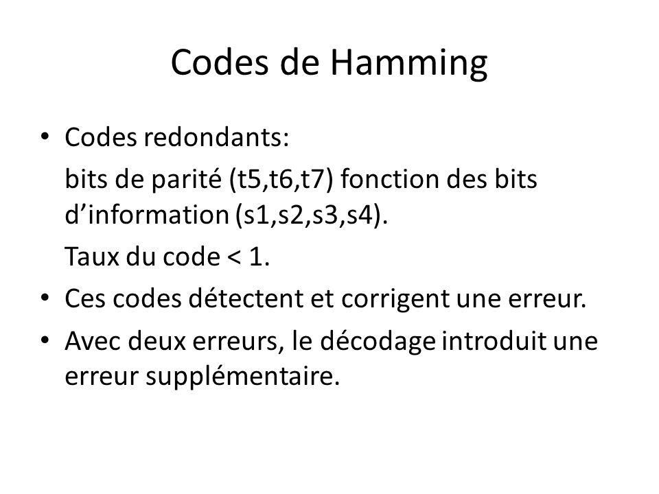 Codes de Hamming Codes redondants: