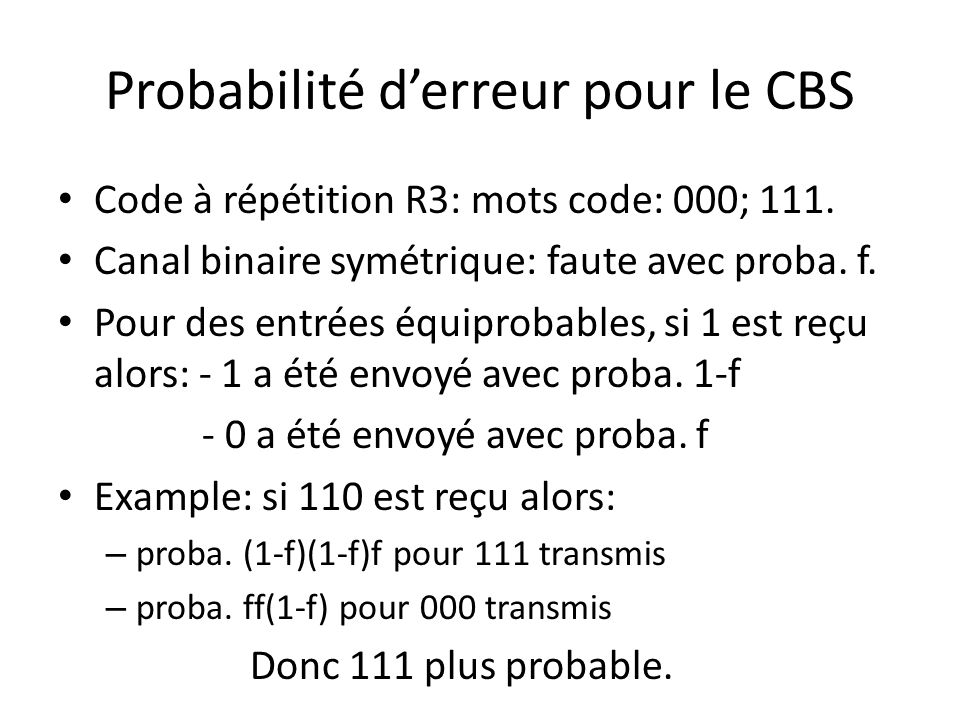 Probabilité d'erreur pour le CBS