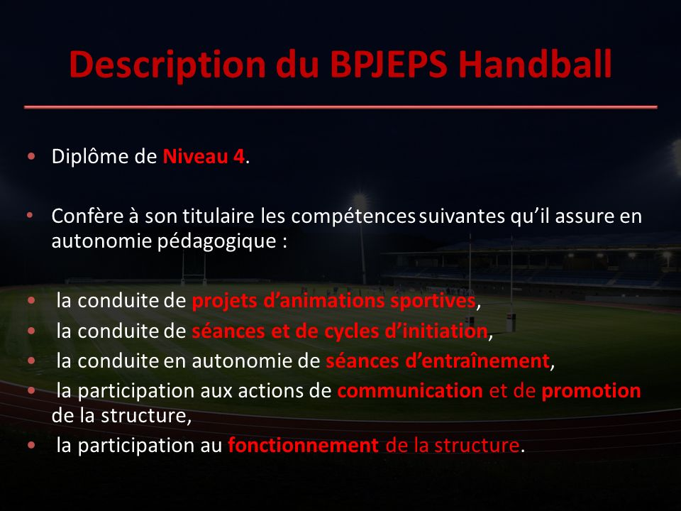 Description du BPJEPS Handball