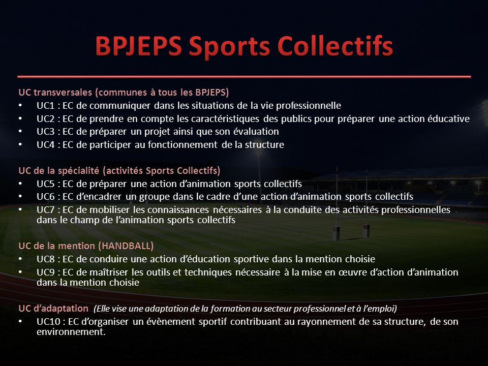 BPJEPS Sports Collectifs