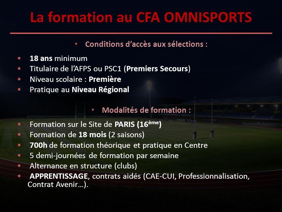 La formation au CFA OMNISPORTS