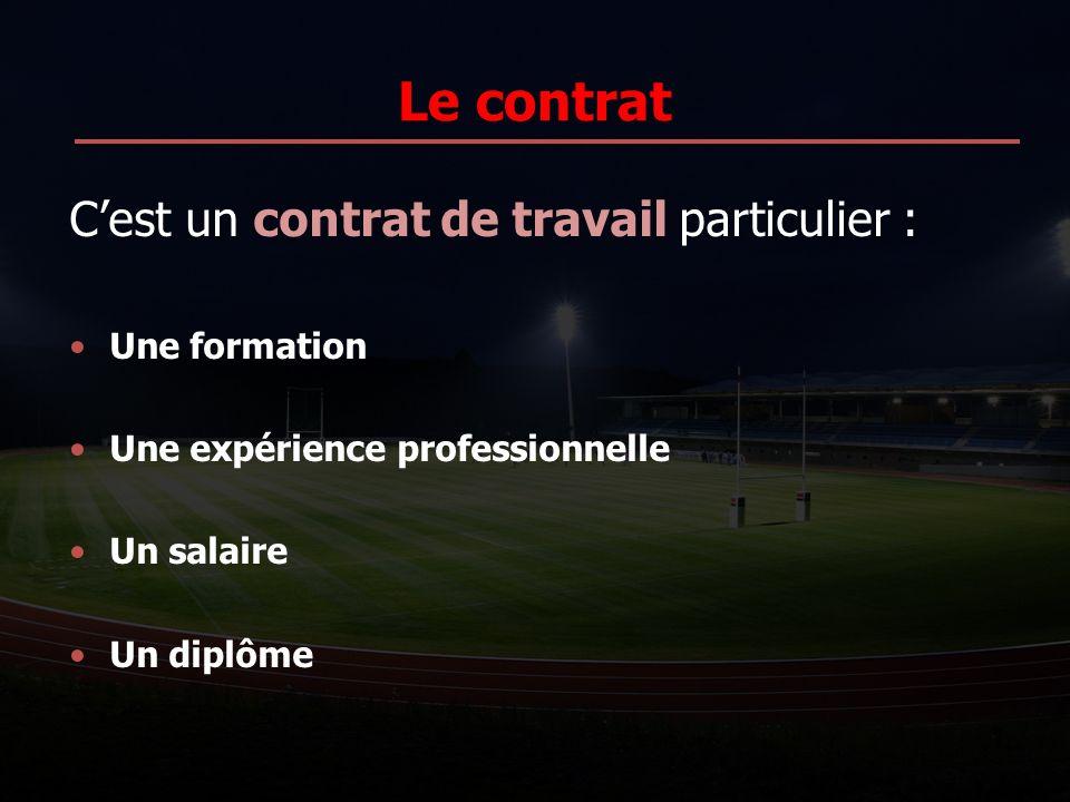 Le contrat C'est un contrat de travail particulier : Une formation