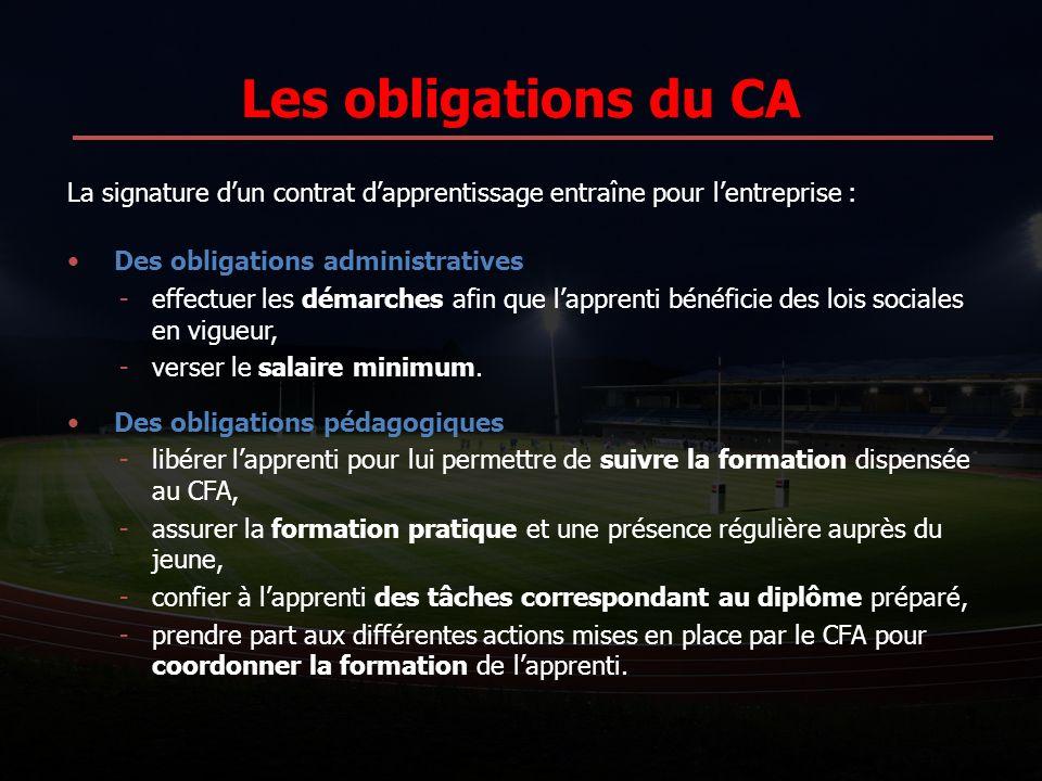 Les obligations du CA La signature d'un contrat d'apprentissage entraîne pour l'entreprise : Des obligations administratives.