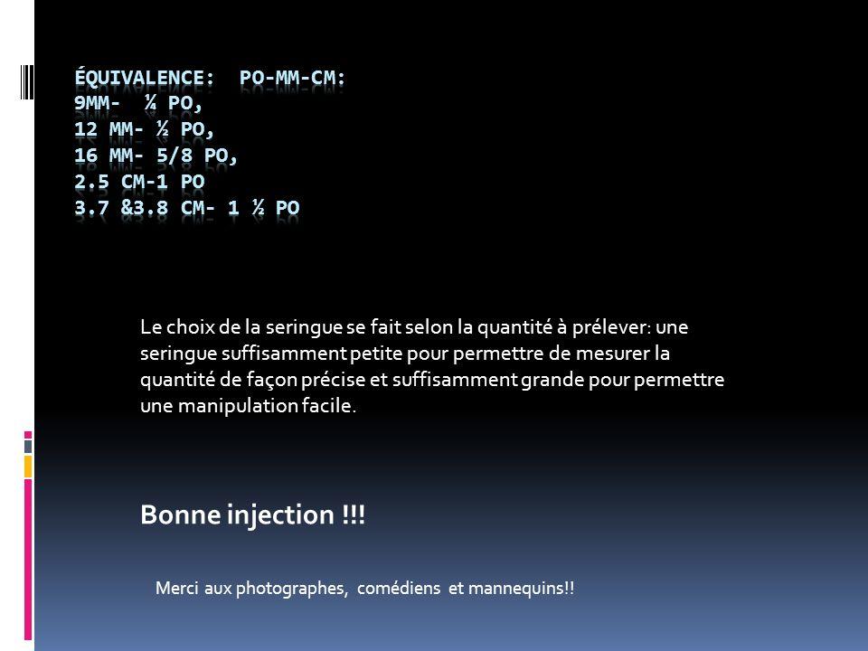 Équivalence: po-mm-cm: 9mm- ¼ po, 12 mm- ½ po, 16 mm- 5/8 po, 2