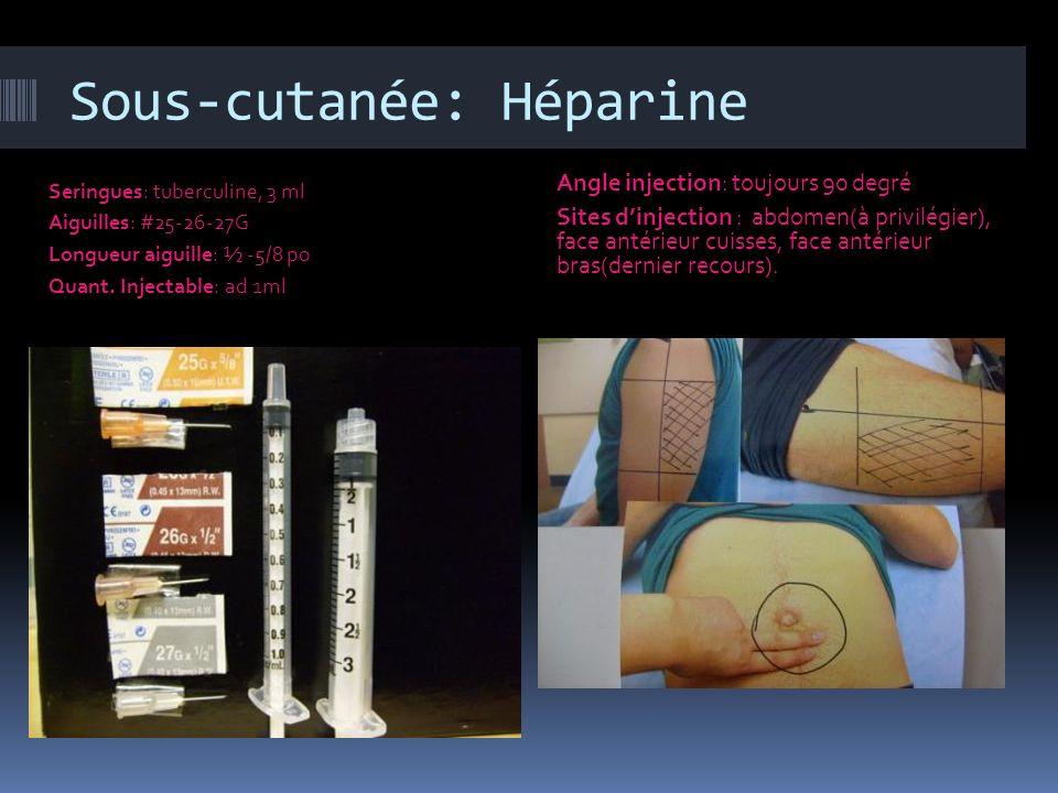Sous-cutanée: Héparine