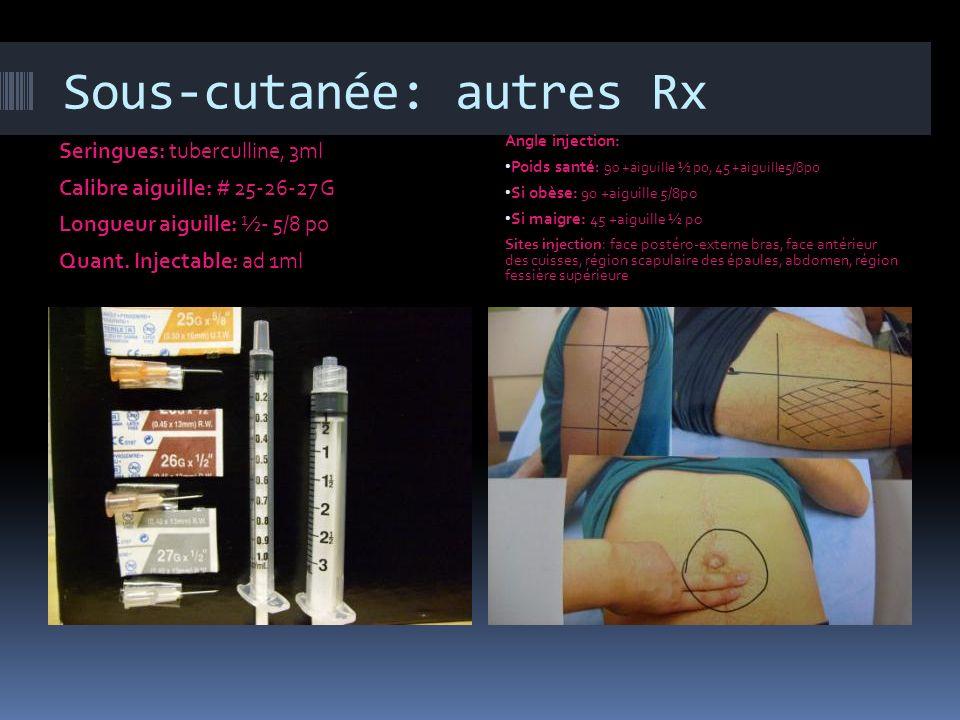 Sous-cutanée: autres Rx