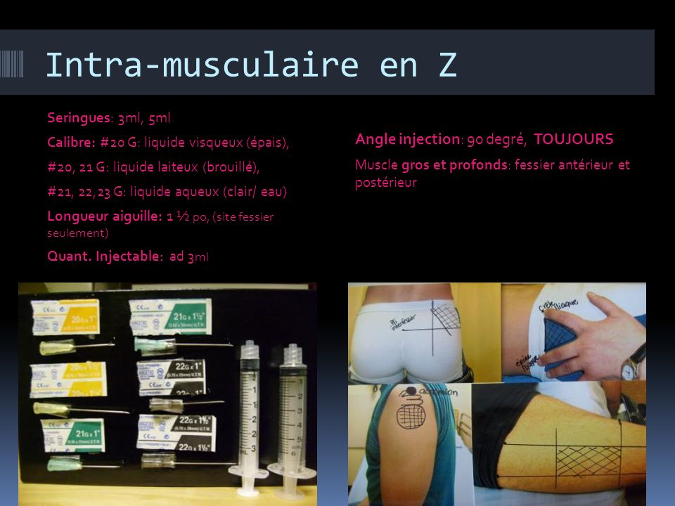 Intra-musculaire en Z Angle injection: 90 degré, TOUJOURS
