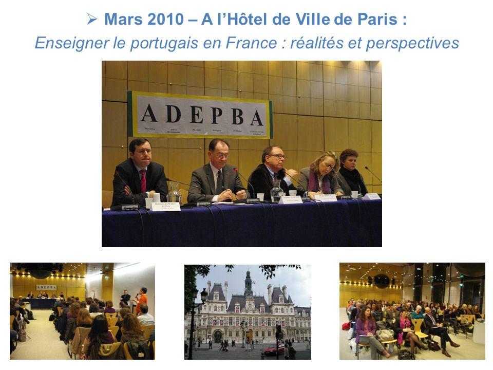 Mars 2010 – A l'Hôtel de Ville de Paris :