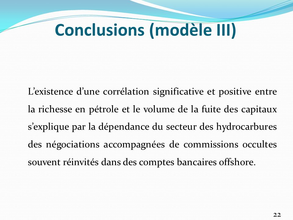 Conclusions (modèle III)